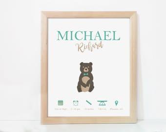 Printable birth stats, Birth details print, Birth announcement wall art, Personalised baby gift, Baby boy wall art, Nursery baby boy