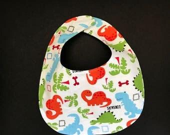 Baby Bib, Dinosaur Print Baby Bib, Reversible Baby Bib, Baby Shower Gift, Baby Boy's Bib, Baby's Bib, Green & White Polkadot Bib