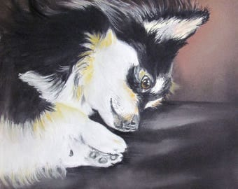 Long-haired Chihuahua - portrait black and white dog animal in pastel - animal Art