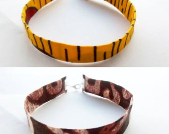 Yellow and brown african prints choker