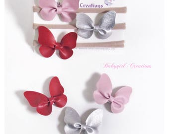 Set of 3 butterfly bows, leather butterfly headband set, Baby girl headband, Baby girl Bow, flowers headband , infant headband, newborn