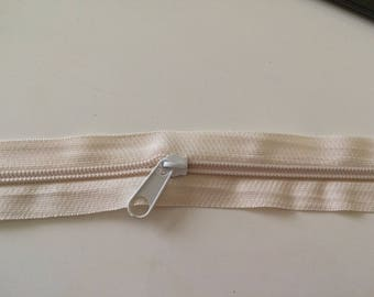 Zipper in beige meter 3 centimeters