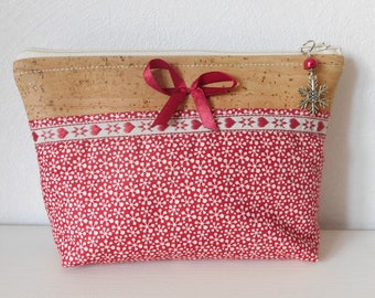 Kit makeup or jewelry cloth Cork and Red