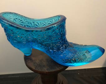 Vintage Fenton Daisy and Button Blue Glass Shoe, Victorian Style