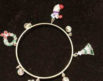 Vintage Christmas Bangle Charm Bracelet