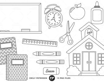 50% OFF SALE! Back to School Digital Stamps, Schoolhouse Line Art, School Clip Art - Commercial Use, Instant Download