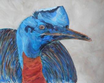 Australian bird painting - cassowary painting - blue and orange bird portrait - bird art - flightless bird -  Australian wildlife gift