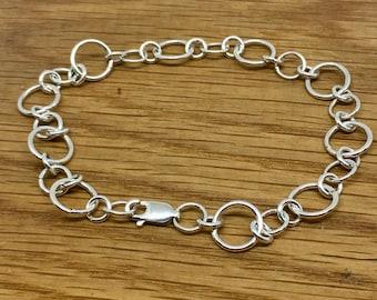 Simple Sterling Silver Charm Bracelet, Handmade silver charm bracelet, Sterling silver charm bracelet, 7.25' bracelet