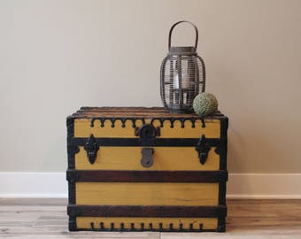 Antique Yellow Steamer Trunk