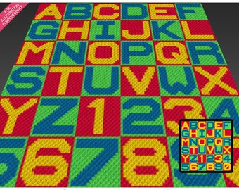 Alphabet and Numbers crochet blanket pattern; c2c, knitting, cross stitch graph; pdf download; no written counts or row-by-row instructions