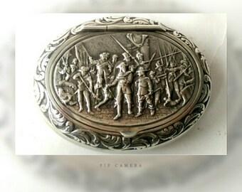 Antique Snuffbox Dutch Minerva Silver Repousse 1871 (216)