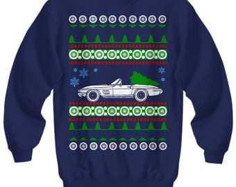 Corvette C2 vette Ugly Christmas Sweater LS motor Sweatshirt  holidays drag racing american iron hot rod