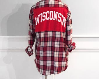 University of Wisconsin-Madison flannel shirt Wisconsin t-shirt red plaid flannel shirt handmade upcycled flannel shirt one of a kind