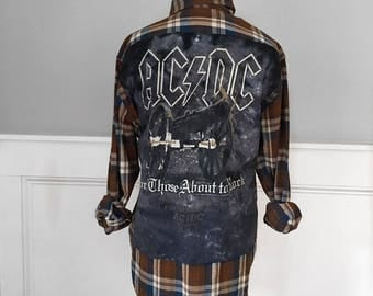 AC/DC Flannel Tee  for those about to rock concert t shirt on rust briwn and blue  plaid flannel shirt