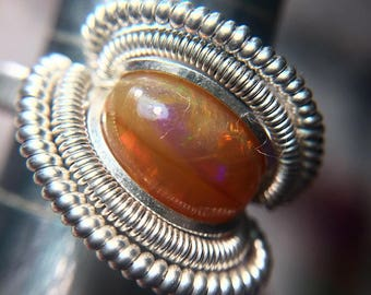 Sterling Silver Wire Wrapped Ethiopian Opal Ring, Wire Wrapped Jewelry, Wire Wrapped Ring, Opal Wire Wrap Ring, Heady Wire Wrap, Heady Ring