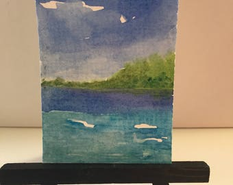 ACEO original painting, watercolor Ocean, ATC seascape, Island painting, artist trading card, Original Mini Art, Desk art