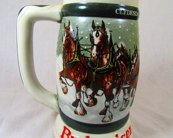 Budweiser Holiday Stein Clydesdales 50th Anniversary 1933-1983 Anheuser Busch