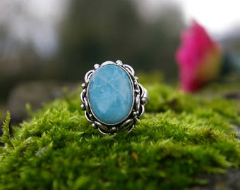 Beautiful Larimar silver ring, size 57 or US 8