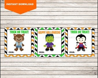 Monster Scabs Thank You Tags - Halloween Tags - Halloween Favor Tags - Halloween Gift Tags - Halloween Labels - Halloween Treat Tags