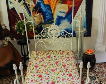 "NEW DESIGNS!  Artisan Made Dollhouse Miniature Wrought Iron Look Bed ""AIDA"" 1:12 Scale Twin and Full, Half Scale"