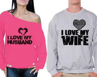 Husband Wife Matching Couple Sweatshirts I Love My Husband Sweatshirt I Love My Wife Sweater Valentine's Day Couple Husband Gift Wife Gift