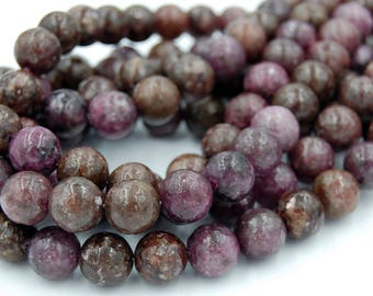 """Two 15.5"""" strands, Purple Mica Beads Round Lepidolite  10mm"""