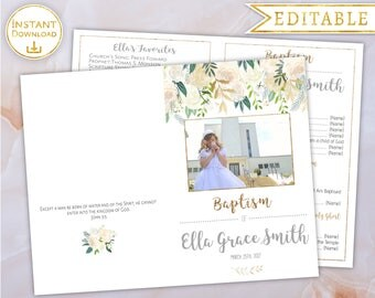 Baptism Program Girl Editable PDF with Picture Digital Print LDS Baptism Program Printable Folded floral watercolour White gold Baptism Girl