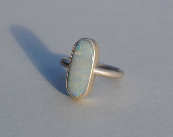 Handmade Sterling Silver Opal Ring London Hallmarked