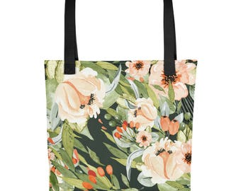 Fall Floral Green Tote Made in USA