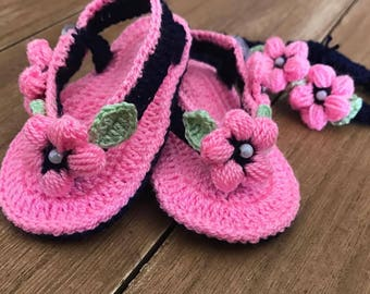 Crochet Baby Sandals, Baby Shoes, Girls Sandals, Baby Girl's Set, Crochet headband.