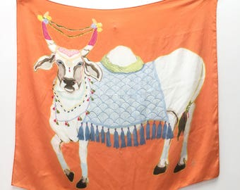 Holy Cow on Orange Silk Scarf