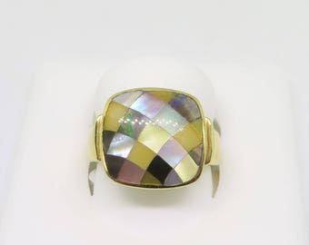 Vintage Checkerboard Pattern MOP 14k Ring Size 7.25 by ASH