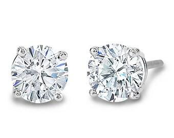 14K White Gold Round Diamond 4 Prong Earring Studs