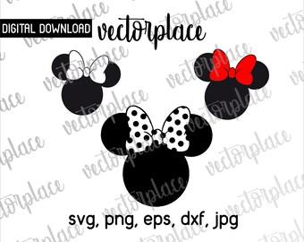 Minnie Mouse Svg, Bow Svg, Minnie Mouse Clipart, Minnie Mouse Dxf, PNG, EPS File, Minnie Mouse Silhouette, Disney Clipart