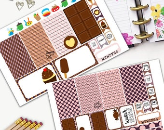 Chocolate Theme Planner Weekly Sticker SMALL Kit, CLASSIC Happy Planner Sticker, Weekly Set, Stickers, Printed, Cut, Nutella, Sweet, Dessert