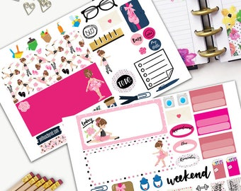 Ballerina Weekly Planner Sticker Set, MINI Happy Planner Stickers, Weekly Set, Stickers, Printed, Cut, Pink, Dance Practice, Ballet Practice
