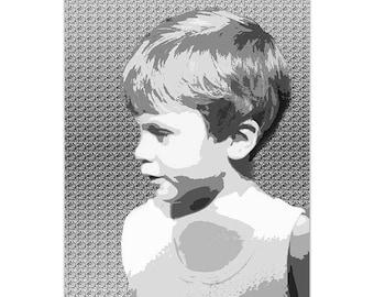 Photo Poster A4 black & white baby boy