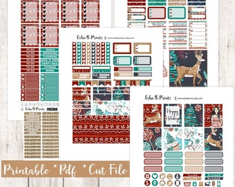 WinterGlam Printable Planner Stickers/Weekly Kit/For Use with Erin Condren/Cutfiles Winter December Glam Glitter Christmas