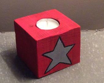 Christmas theme wood candle holder