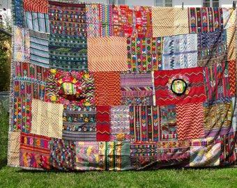 Bedspread boho original handwoven Guatemalan huipils genuine Maya-folk art very decorative folklore handmade colourful bed cover