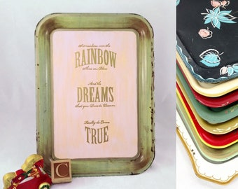 Somewhere Over The Rainbow - Redesigned Vintage TV Tray - Customize Tray and Paint Colors