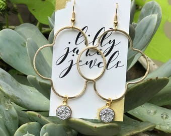 Small Gold Quatrefoil with Druzy Accent