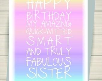 Sister birthday card, watercolour, Sister card, Rainbow watercolour