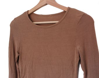 SALE Ribbed Tan Long Sleeve Top
