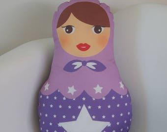 Purple matryoshka cushion