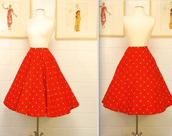 1950's Quilted Red Skirt with Yellow and Black Floral Pattern / Circle Skirt / Pin Up / Rockabilly / Rare Collectable Retro