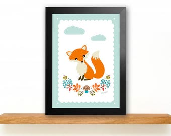 A4 Fox Poster Children's Room picture Kids poster