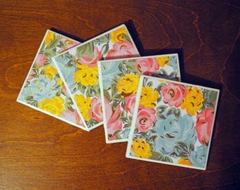 Floral Coasters; Ceramic Coasters; Set of Coasters; Floral Pattern