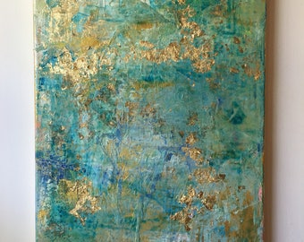14x11 Gold Leaf Painting , Abstract