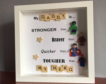 Father's Day gift, superhero gift, superhero frame, Father's Day frame, hero dad, avengers gift, avengers frame, best dad, grandad gift